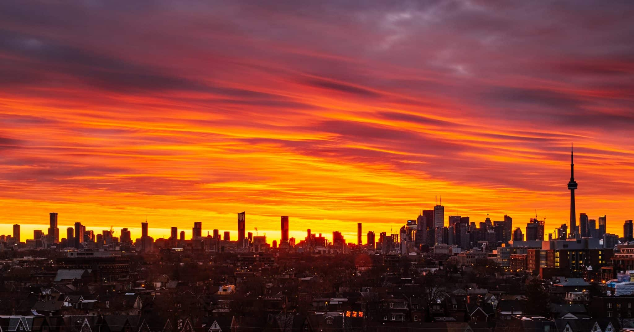 Fiery sky over Toronto