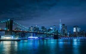 Brooklyn Bridge and New York City by Night