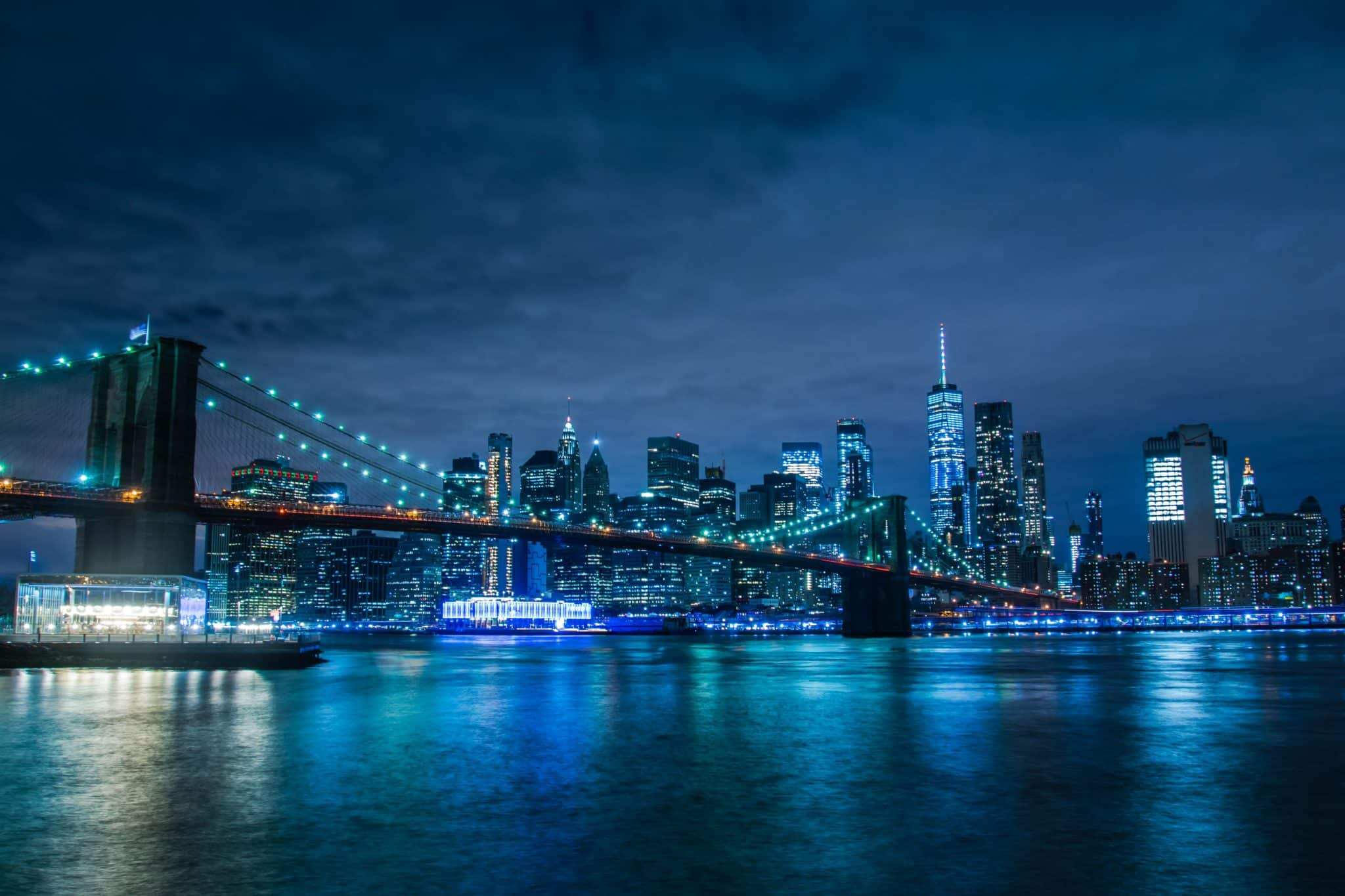 Brooklyn Bridge and New York City by Night